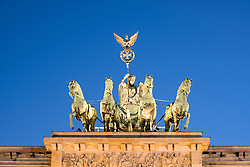 Detail of Quadriga on top of Brandenburg Gate in Berlin Germany