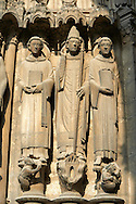 Gothic statues  from the South Porch of Cathedral of Chartres, France. . A UNESCO World Heritage Site. .<br /> <br /> Visit our MEDIEVAL ART PHOTO COLLECTIONS for more   photos  to download or buy as prints https://funkystock.photoshelter.com/gallery-collection/Medieval-Middle-Ages-Art-Artefacts-Antiquities-Pictures-Images-of/C0000YpKXiAHnG2k