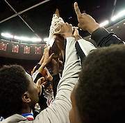 Dallas Triple A Academy celebrate after defeating Mumford in the UIL 1A division 1 state championship game at the Frank Erwin Center in Austin on Saturday, March 9, 2013. (Cooper Neill/The Dallas Morning News)