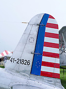 Photograph of an unidentied tail end of an aircraft at the EAA Airventure airshow, Oshkosh, Wisconsin.