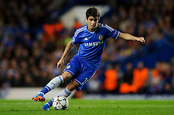Chelsea Midfielder Oscar (BRA) in action during the first half of the match - Photo mandatory by-line: Rogan Thomson/JMP - Tel: 07966 386802 - 18/09/2013 - SPORT - FOOTBALL - Stamford Bridge, London - Chelsea v FC Basel - UEFA Champions League Group E