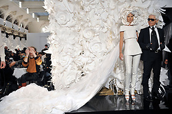 A model displays a creation of German designer Karl Lagerfeld for Chanel Spring-Summer 2009 Haute-Couture collection show held at the Pavillon Cambon Capucines in Paris, France on January 27, 2009. Photo by Thierry Orban/ABACAPRESS.COM