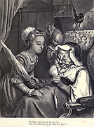 """The Princess looked in the door and said - 'What bonny white wool, and what bonny white thread!"" Illustration from 'The Sleeping Beauty' by Paul Gustave Doré (1832-1883). The princess about to prick her finger and fall into a deep sleep for 100 years.  From the book Fairy realm. A collection of the favourite old tales. Illustrated by the pencil of Gustave Dore by Tom Hood, (1835-1874); Gustave Doré, (1832-1883) Published in London by Ward, Lock and Tyler in 1866"