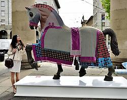 May 2, 2019 - Milan - Leonardo Horse Project Initiative Decorated horse positioned in Piazza XXIV 24 May (Duilio Piaggesi/Fotogramma, Milan - 2019-05-02) p.s. la foto e' utilizzabile nel rispetto del contesto in cui e' stata scattata, e senza intento diffamatorio del decoro delle persone rappresentate (Credit Image: © Duilio Piaggesi/IPA via ZUMA Press)
