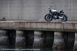 Sureshot's Taku (Takuya) Aikawa's recently unveiled custom Harley-Davidson Nightster Sportster 1200 Street Tracker photographed at the port in Chiba, Japan. Sunday, December 9, 2018. Photography ©2018 Michael Lichter.
