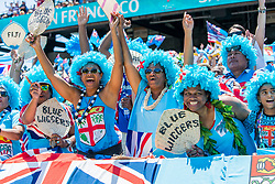 July 22, 2018 - San Francisco, CA, U.S. - SAN FRANCISCO, CA - JULY 22: Fiji supports represent during the match between New Zealand and Fiji at the Rugby World Cup Sevens on July 22, 2018 at AT&T Park in San Francisco, CA. (Photo by Bob Kupbens/Icon Sportswire) (Credit Image: © Bob Kupbens/Icon SMI via ZUMA Press)