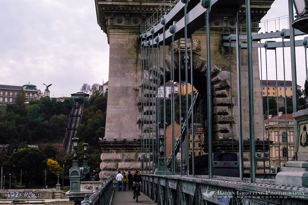 Budapest, Hungary.  Castle Hill with Buda Castle from the Chain Bridge.