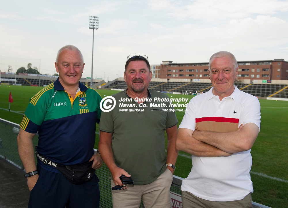 23-07-21. Meath v Tipperary - LGFA All-Ireland Senior Championship - Group 3 Round 2 at O'Moore Park, Portlaoise.<br /> Meath supporters in O'Moore Park, Portlaoise from left, Tom Wall, Dunboyne, Brendan Newe, Ratoath and John Lally, Athboy.<br /> Photo: John Quirke / www.quirke.ie<br /> ©John Quirke Photography, 16 Proudstown Road, Navan. Co. Meath. (info@quirke.ie / 046-9028461 / 087-2579454).