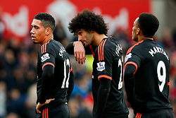Chris Smalling, Marouane Fellaini and Anthony Martial of Manchester United line up for a corner - Mandatory byline: Rogan Thomson/JMP - 26/12/2015 - FOOTBALL - Britannia Stadium - Stoke, England - Stoke City v Manchester United - Barclays Premier League - Boxing Day Fixture.