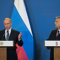 Vladimir Putin (L) president of Russia and Viktor Orban (R) prime minister of Hungary talk during a press conference in Budapest, Hungary on February 02, 2017. ATTILA VOLGYI