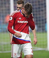 Gaston Ramirez of Middlesbrough gets emotional after scoring his teams first goal of the game during the English Premier League match at Riverside Stadium, Middlesbrough. Picture date: December 5th, 2016. Pic Jamie Tyerman/Sportimage