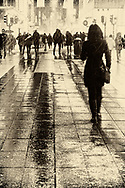 Woman walking on a busy street in Stockholm