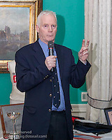 John Lavery, former World Champion (1995) speaking at the reunion night to celebrate 50 years of the Irish Fireball Class, held at the Royal St George YC.