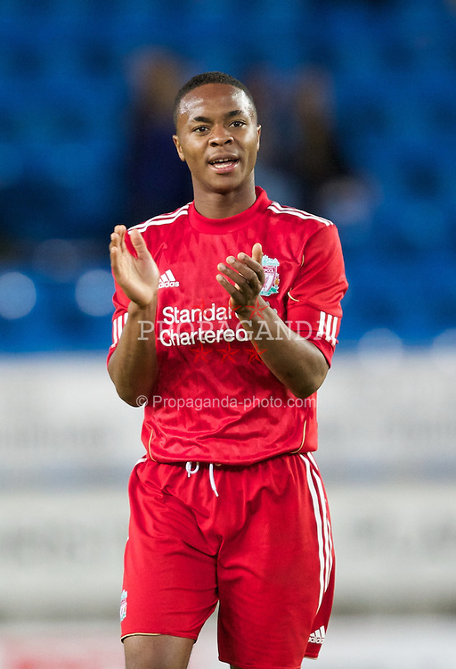 MOLDE, NORWAY - Wednesday, September 7, 2011: Liverpool's Raheem Sterling thanks the Norwegian Liverpool fans after the 4-0 win against Molde after the second NextGen Series Group 2 match at Aker Stadion. (Photo by Vegard Grott/Propaganda).