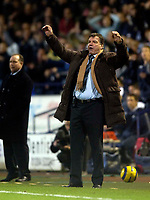 Photo: Jed Wee.<br /> Bolton Wanderers v Marseille. UEFA Cup. 15/02/2006.<br /> <br /> Bolton manager Sam Allardyce prematurely begins celebrating a late Stelios Giannakopoulos chance.