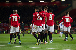 Manchester United celebrate their second goal, an own goal by Ryan Jackson of Colchester United - Mandatory by-line: Jack Phillips/JMP - 18/12/2019 - FOOTBALL - Old Trafford - Manchester, England - Manchester United v Colchester United - English League Cup Quarter Final