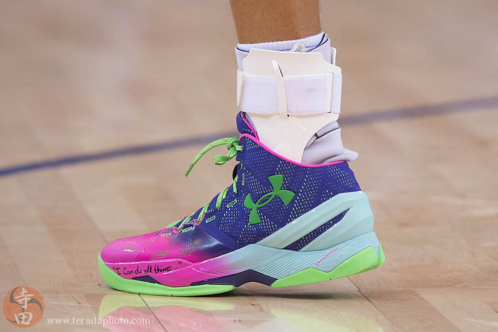 December 25, 2015; Oakland, CA, USA; Detail view of the shoe worn by Golden State Warriors guard Stephen Curry (30) during the second quarter in a NBA basketball game on Christmas against the Cleveland Cavaliers at Oracle Arena. The Warriors defeated the Cavaliers 89-83.