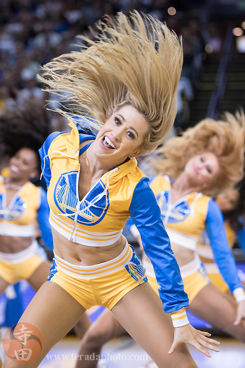 January 23, 2018; Oakland, CA, USA; Golden State Warriors Dance Team dancer Bridget during the third quarter against the New York Knicks at Oracle Arena. The Warriors defeated the Knicks 123-112.