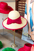 Display of women's hats - in millinery hat shop in Lubeck, Northern Germany