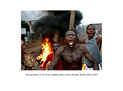 Togolese opposition supporters during riots in Bagida, Togo Sunday 24 April 2005. Streets of Togo turned violent Sunday following a day of voting where opposition claim voter fraud and warn of more violence should the ruling party win.