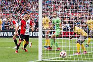 Feyenoord player Jan Arie van der Heijden (l) scores the 3-0 during the Dutch football Eredivisie match between Feyenoord and Excelsior at De Kuip Stadium in Rotterdam, on August 19th, 2018 - Photo Dennis Wielders / Pro Shots / ProSportsImages / DPPI
