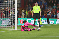 Football - 2019 / 2020 EFL Carabao (League) Cup - Second Round: AFC Bournemouth vs. Forest Green Rovers<br /> <br /> Joe Wollacott of Forest Green Rovers saves a penalty from Bournemouth's Jordon Ibe during the shoot out at the Vitality Stadium (Dean Court) Bournemouth <br /> <br /> COLORSPORT/SHAUN BOGGUST