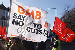 GMB members with banners at demonstration against pension cuts, Nottingham 30th November 2011