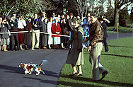 President and Nancy Reagan return to the White House from Camp David on October 23rd, 1986...Photo by Dennis Brack BSB 18