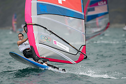 31.07.2012, Bucht von Weymouth, GBR, Olympia 2012, Windsurfen, im Bild RS:X Men, Stauffacher Richard (SUI) . EXPA Pictures © 2012, PhotoCredit: EXPA/ Juerg Kaufmann ***** ATTENTION for AUT, CRO, GER, FIN, NOR, NED, POL, SLO and SWE ONLY!