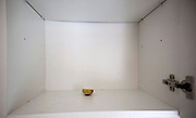 Empty kitchen cupboard with small piece of dried-up piece lemon