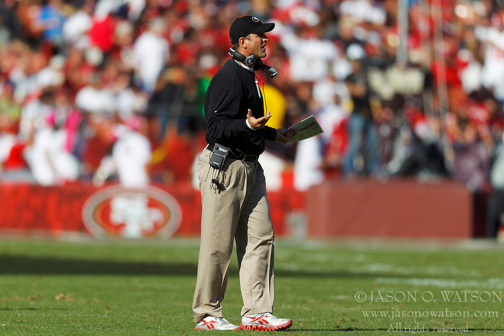 Oct 30, 2011; San Francisco, CA, USA; San Francisco 49ers head coach Jim Harbaugh on the sidelines against the Cleveland Browns during the third quarter at Candlestick Park. San Francisco defeated Cleveland 20-10. Mandatory Credit: Jason O. Watson-US PRESSWIRE
