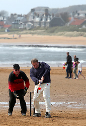 Embargoed to 0001 Monday August 28 The Ship Inn Cricket Club play a home match against the Eccentric Flamingoes Cricket Club on Sunday April 30th, 2017, in front of the pub in Elie, Fife, which is the only one in Britain to have a cricket team with a pitch on the beach. The Ship Inn Cricket Club season runs from May to September with dates of matches dependent on the tides. Any Batsman who hits a six which lands in the Ship Inn beer garden wins their height in beer and any spectator who catches a six in the beer garden also wins their height in beer.