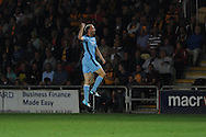 Luke Chadwick of Cambridge celebrates after he scores his sides 1st goal. Skybet football league two match, Newport County v Cambridge Utd at Rodney Parade ,Newport , South Wales on Monday 8th  Sept 2014<br /> pic by Andrew Orchard, Andrew Orchard sports photography.