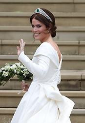 Princess Eugenie arrives for her wedding to Jack Brooksbank at St George's Chapel in Windsor Castle.