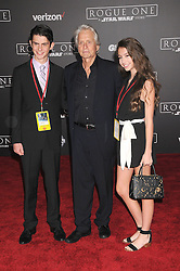 December 10, 2016 - Los Angeles, California, United States - December 10th 2016 - Los Angeles California USA - Actor MICHAEL DOUGLAS, family  DYLAN MICHAEL DOUGLAS, CARYS ZETA DOUGLAS   at the World Premiere for ''Rogue One Star Wars'' held at the Pantages Theater, Hollywood, Los Angeles  CA (Credit Image: © Paul Fenton via ZUMA Wire)