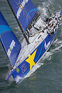 The 2013 Rolex Fastnet race start. <br /> <br /> Pictures of the racing maxi Esimit Europa 2. Shown here as they race down the Solent and past the Needles <br /> <br /> Credit: Lloyd Images