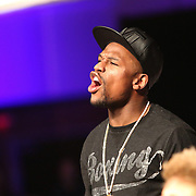 Boxer and promoter Floyd Mayweather watches his fighters during Showtime Televisions ShoBox:The Next Generation boxing match at the Event Center at Turning Stone Resort Casino on Friday, February 28, 2014 in Verona, New York.  (AP Photo/Alex Menendez)
