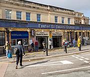Passengers outside Exeter St David's railway station, Exeter, Devon, England, UK