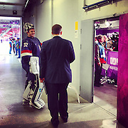 USA goalkeeper Jonathan Quick smiles as he leaves the ice and heads to speak to the media after defeating Russia, 3-2, at Bolshoy Ice Dome on Saturday, Feb. 15, 2014. Sochigrams during the Winter Olympics in Sochi, Russia with an iPhone and Instagram. (Brian Cassella/Chicago Tribune) B583527420Z.1 <br /> ....OUTSIDE TRIBUNE CO.- NO MAGS,  NO SALES, NO INTERNET, NO TV, CHICAGO OUT, NO DIGITAL MANIPULATION...
