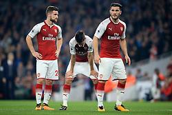 25 September 2017 -  Premier League - Arsenal v West Bromwich Albion - Shkodran Mustafi, Laurent Koscielny and Sead Kolasinac of Arsenal - Photo: Marc Atkins/Offside