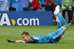 July 1, 2018 - Moscow, Russia - July 01, 2018, Russia, Moscow, FIFA World Cup 2018, the playoff round. Football match Spain - Russia at the stadium Luzhniki. Player of the national team Igor Akinfeev; goalkeeper; penalty; save. (Credit Image: © Russian Look via ZUMA Wire)