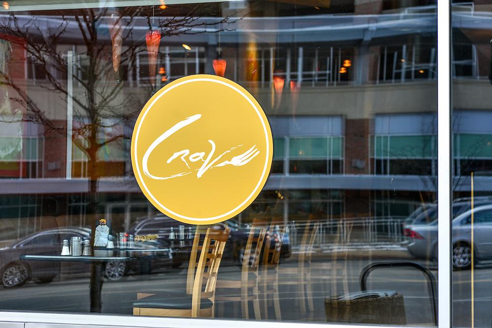 Front window of Crave restaurant.