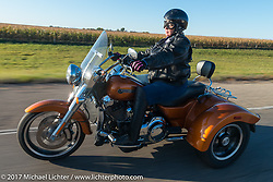 Warner Chapter American Legion Rider Ruth Vansteenwyck of Aberdeen riding her Harley-Davidson Freewheeler 3-wheeler for the USS South Dakota submarine flag relay across South Dakota. Groton, SD. USA. Sunday October 8, 2017. Photography ©2017 Michael Lichter.