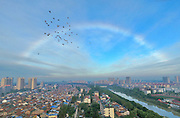 Rare rainbow appear's over the Huaian city, China<br /> <br /> A rare rainbow appeared this morning  above the city of Huaian,Jiangsu,China weather experts say is due to the wet weather <br /> ©Exclusivepix Media