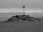 Warning sign about rocks, Ravensdale beach, Bexhill, East Sussex, 20 November 2016