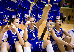 Team of Celje Rebeka Abramovic, Ines Kerin, Iva Ciglar celebrate with the Cup at finals match of Slovenian 1st Women league between KK Hit Kranjska Gora and ZKK Merkur Celje, on May 14, 2009, in Arena Vitranc, Kranjska Gora, Slovenia. Merkur Celje won the third time and became Slovenian National Champion. (Photo by Vid Ponikvar / Sportida)