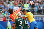 Guillermo Ochoa of Mexico and Casemiro of Brazil during the 2018 FIFA World Cup Russia, round of 16 football match between Brazil and Mexico on July 2, 2018 at Samara Arena in Samara, Russia - Photo Thiago Bernardes / FramePhoto / ProSportsImages / DPPI