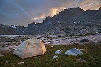 Titcomb Basin backcountry camp, Bridger Wilderness, Wind River Range Wyoming
