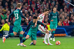 08-05-2019 NED: Semi Final Champions League AFC Ajax - Tottenham Hotspur, Amsterdam<br /> After a dramatic ending, Ajax has not been able to reach the final of the Champions League. In the final second Tottenham Hotspur scored 3-2 / Joel Veltman #3 of Ajax, Son Heung-Min #7 of Tottenham Hotspur