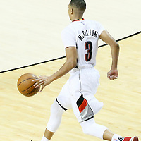 23 April 2016: Portland Trail Blazers guard C.J. McCollum (3) brings the ball up court during the Portland Trail Blazers 96-88 victory over the Los Angeles Clippers, during Game Three of the Western Conference Quarterfinals of the NBA Playoffs at the Moda Center, Portland, Oregon, USA.